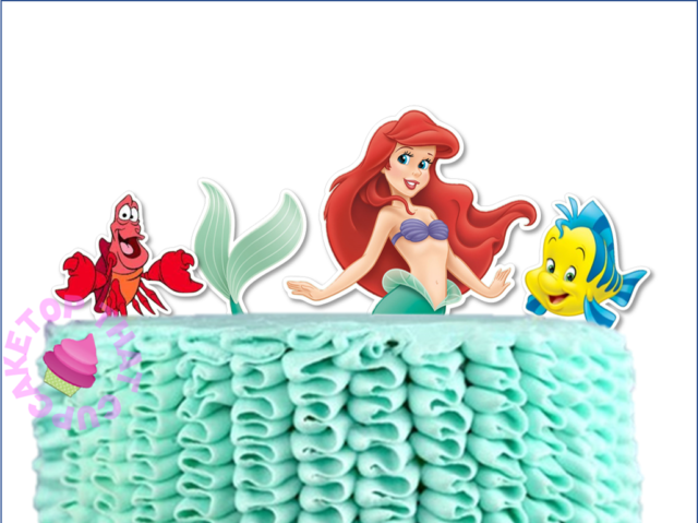 #511. Ariel Little Mermaid XL EDIBLE wafer cake topper STAND UP + Flounder