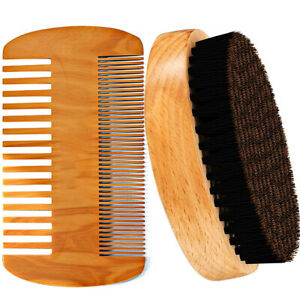 Men-Boar-Hair-Bristle-Beard-Mustache-Brush-Military-Hard-Round-Wood-Handle-Comb
