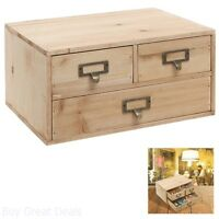 Cabinet Drawer Jewelry Wood Storage Small Rustic Office Organizer Decor