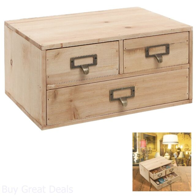 Charmant Cabinet Drawer Jewelry Wood Storage Small Rustic Office Organizer Decor New