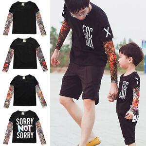 Men Boys Long Sleeve T-shirt Father Son Matching Tattoo Tops Family ...