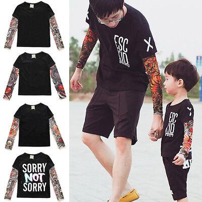 Toddler Baby Kid Boys Long T-Shirt Mesh Tattoo Printed Sleeve Tee Tops Summer kz
