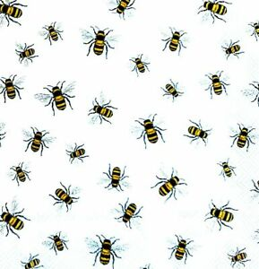 Decoupage Bee Bee 6 Vintage Cocktail Paper Napkins 25cm x 25cm