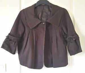 Veste femme type paletot marron fermeture par 1 bouton doublée Taille M