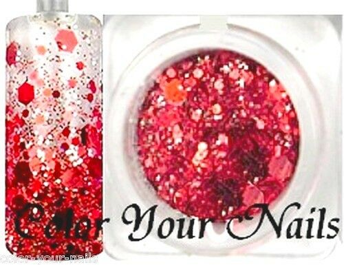2g Holo-Glitter-Pailetten-Mix  Rot.   *Bling Bling*  RNAG32-10