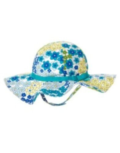 GYMBOREE SEA SPLASH BLUE FLORAL RIBBON SUN HAT 0 12 24 2T 3T 4T 5T NWT