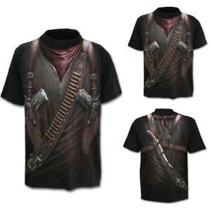 Men-039-s-Western-Cowboy-3D-Print-Round-Neck-Slim-Fit-Short-Sleeve-Tops-Shirt-Blouse
