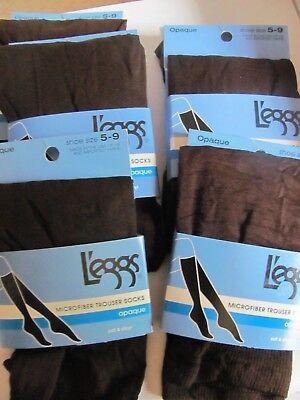 Leggs Microfiber Trouser Socks opaque soft /& silky Brown #039191 Lot of 4