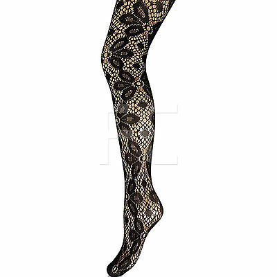 Women Fishnet Patterned Tights Pantyhose with Rose Pattern Stretchy Uk 8-14
