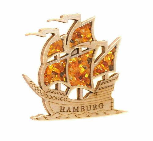Kühlschrankmagnet Segelschiff Hamburg  mit echtem Bernstein