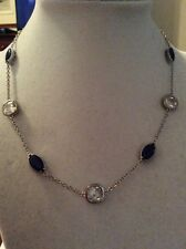 $65 Carolee Uptown Girl Sapphire Crystal Illusion Collar Necklace #439