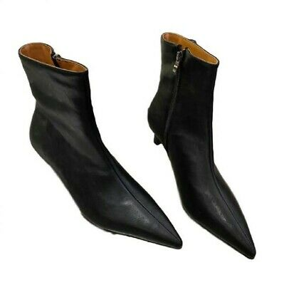 Ladies Women Lace Up Zip Ankle Boots Warm Fur Lined Kitten Heel Pointy Toe Shoes