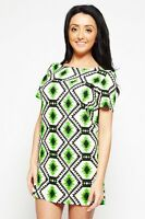 New Womens Short Sleeve Celeb Ladies Neon Aztec Tribal Casual Shift Day Dress