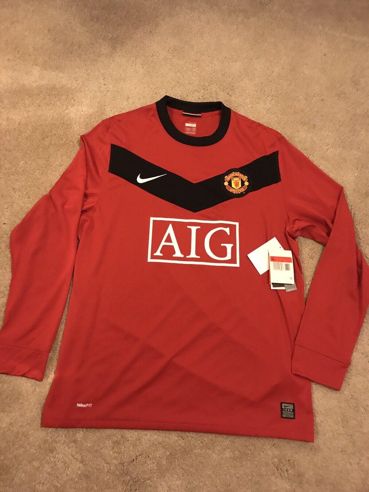 NUOVO Tag Manchester United Home Camicia 200910 adulto di grandi dimensioni L in jersey manica lunga