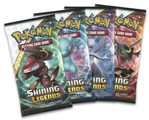 Brand New And Seale All 4 Types Pokemon TCG Shining Legends 4 Booster Packs