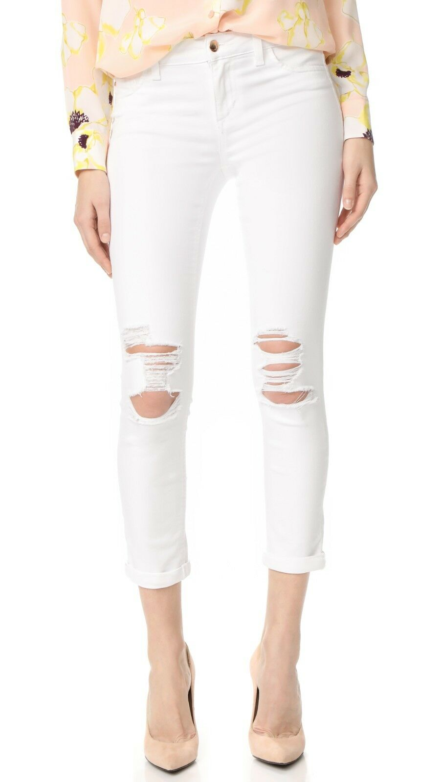 NWT JOE'S Sz27 ROLLED CROP MIDRISE SKINNY STRETCH JEANS DISTRESSED WHITE NATALIE