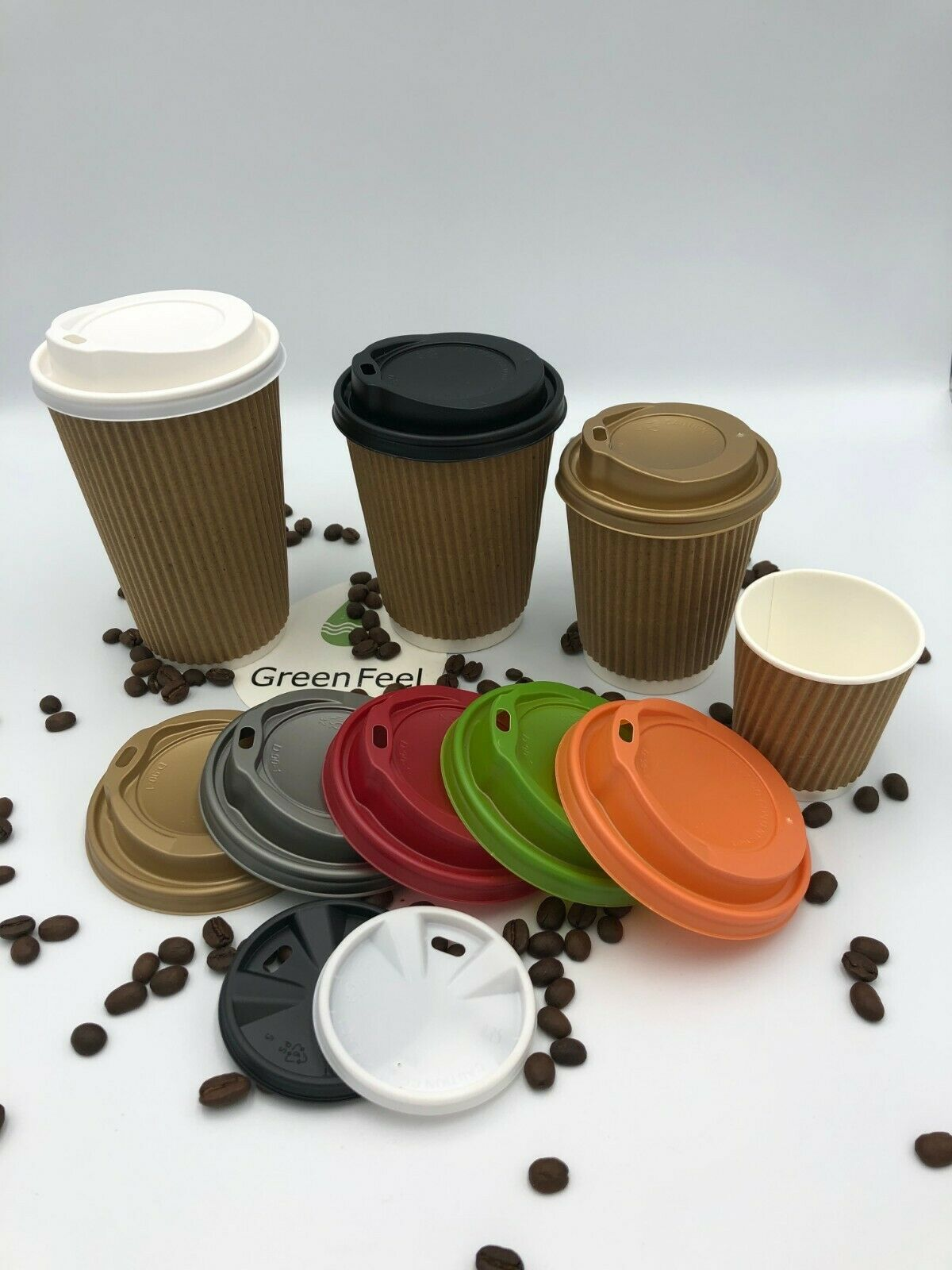 KRAFT RIPPLE RIPPLE RIPPLE TRIPLE WALL PAPER CUPS 500 x 12oz HOT DRINK DISPOSABLE COFFEE & LID 9c8e7f