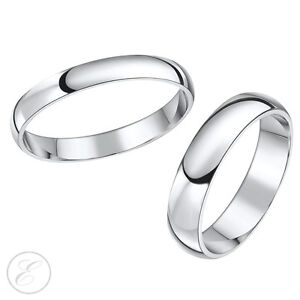 Platinum Wedding Rings 3mm 5mm HisHers Court Shaped Bands Solid