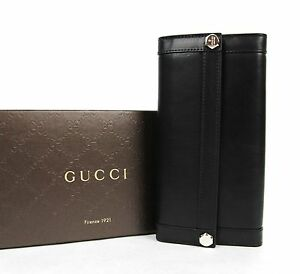 40ac2a22743 Image is loading New-Gucci-Black-Leather-Charmy-Clutch-Continental-Wallet-