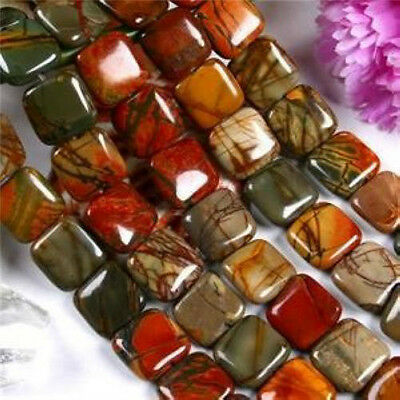 14MM SQUARE PICASSO JASPER GEMSTONE LOOSE BEADS STRAND 15'' AAA