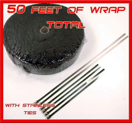 """BLACK EXHAUST TURBO HEADER WRAP 1//8/"""" THICK 2/"""" X 50 FT ROLL STAINLESS STEEL TIES"""