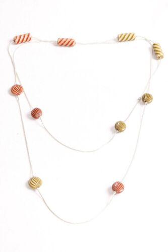Stylish Thin Long Silver Ladies Necklace with Multicolored Textured Beads S518