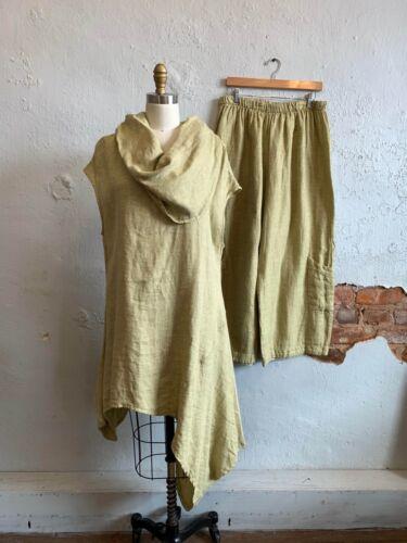 Bryn Walker Tunic Top Pant Set Linen NOA Chartreus