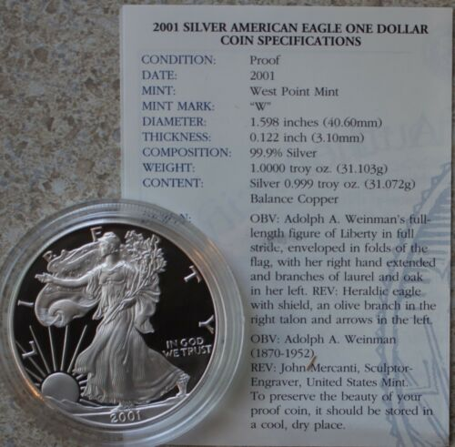2001 AMERICAN SILVER EAGLE PROOF DOLLAR US Mint ASE Coin with Box and COA