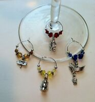 Set Of 4 I Love Camping And Fishing Wine Glass Charms (set 2)