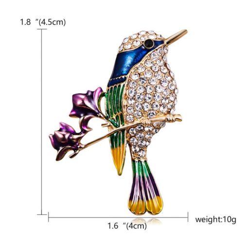Cute Birds Owl Animals Crystal Enamel Brooch Pin Badge Retro Women Jewelry Party