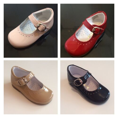 Girls Spanish Patent Leather Mary Janes Pink Red Black Camel