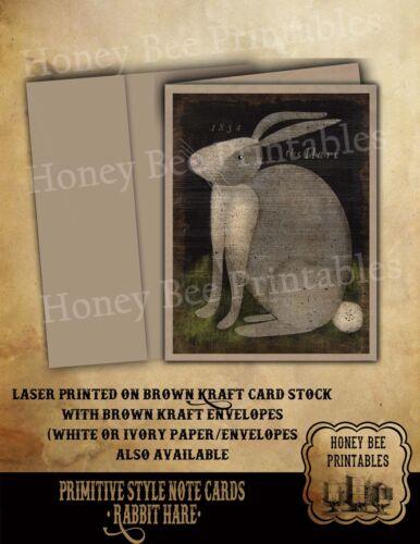Primitive Folk Art Style Note Cards Brown Kraft w/env • Rabbit Hare Bunny Spring