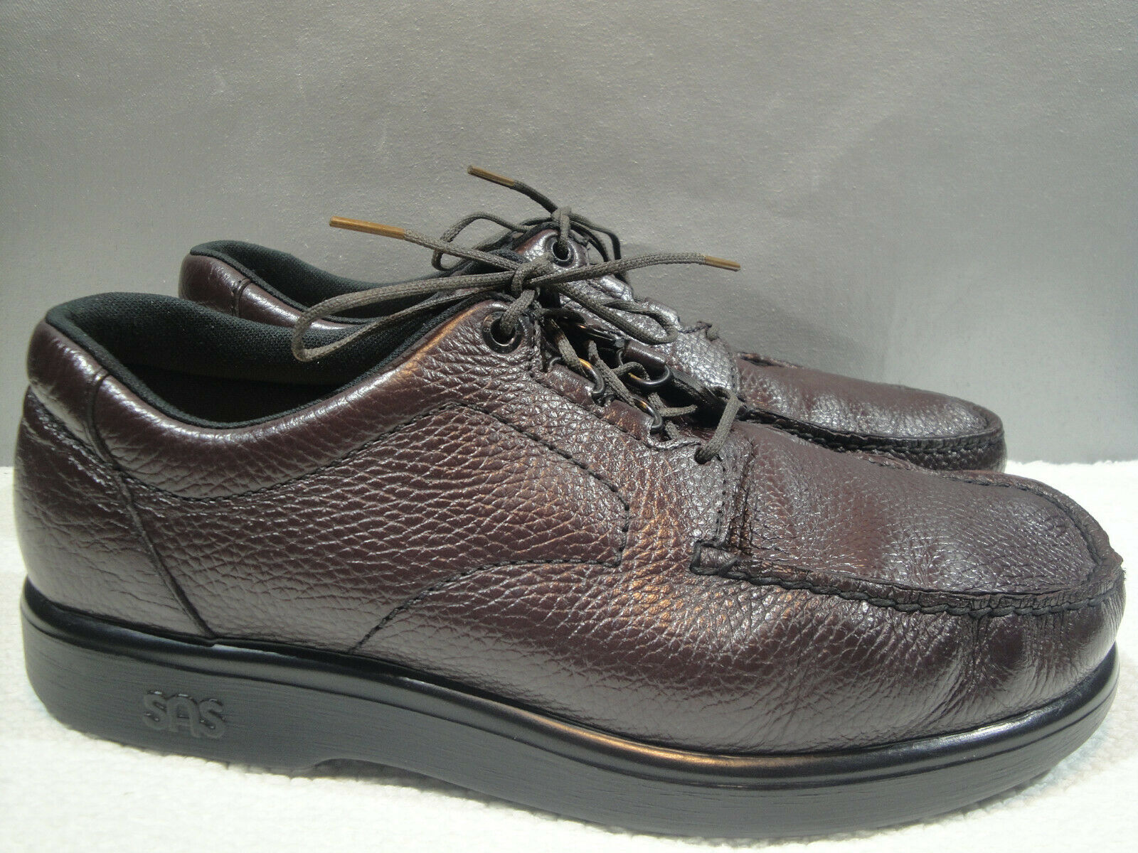 MENS 11 W SAS BOUT TIME USA CORDOVAN LEATHER MOCCASIN WALKING COMFORT OXFORD