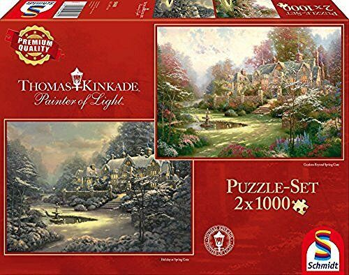 Schmidt Spiele 59469Jigsaw Puzzle 2x 1000Pieces-Sunset Or Winter In Rive Rbend b