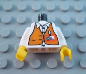 LEGO MINIFIGURE TORSO WHITE RESCUE MINIFIG BODY PART 15 ON BELT PATTERN