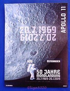 50-Jahre-Mondlandung-Michel-BL-106-Osterr-1W-SM-BL-Juli-2019