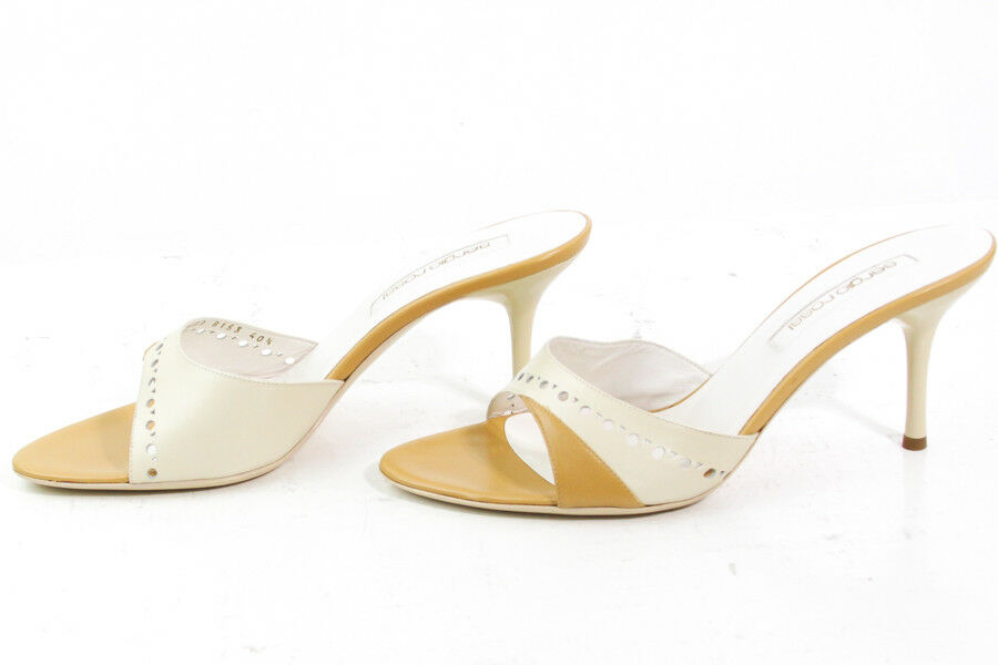 BEAUTIFUL SERGIO ROSSI IVORY     TAN HIGH HEEL MULES Größe EUR 40 fcb222