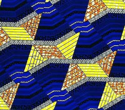 African Fabric 1/2 Yard Cotton Wax Print BLUE YELLOW Golden BROWN Geometric BTHY