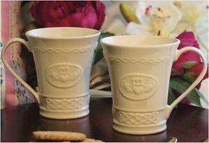 Irish Belleek Parian China 10oz Claddagh Mugs. Made in Ireland New. Boxed.
