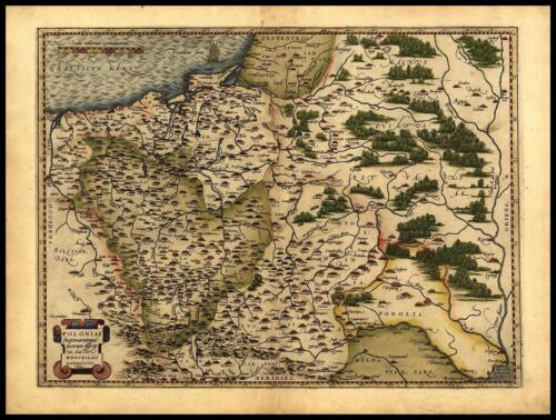 Ortelius Poland Polish  Lithuania West Russia Reproduction Old Antique Map New