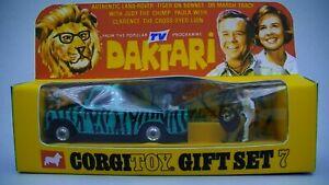 Corgi-Daktari-Gift-Set-7-Vintage-Land-Rover-Original-1968-Version-Boxed-VG-Cdn