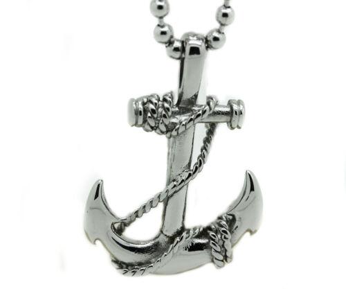 Homme Acier Inoxydable Bateau Pirate Ancre Pendentif Perles Chaîne Collier Charme