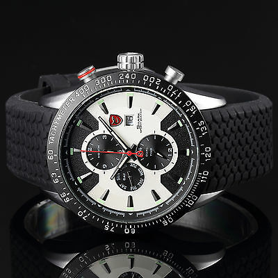 Shark Mens Stainless Steel Date Day Sport Luxury Black White Wrist Quartz Watch