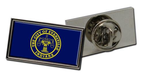 Flag Lapel Pin Badge Evansville IN USA