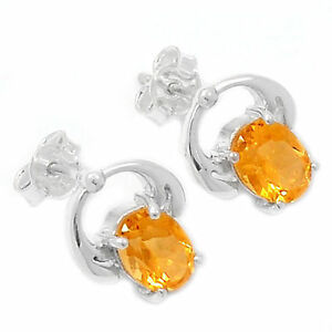 AAAER2219C-2-62ct-CITRINE-925-STERLING-SILVER-EARRINGS-JEWELRY