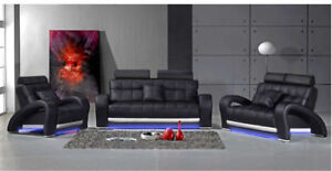 Leder-Sofa-Couch-Polster-Garnitur-Sofagarnitur-Moderne-Couchen-3-2-1-Set-B2023