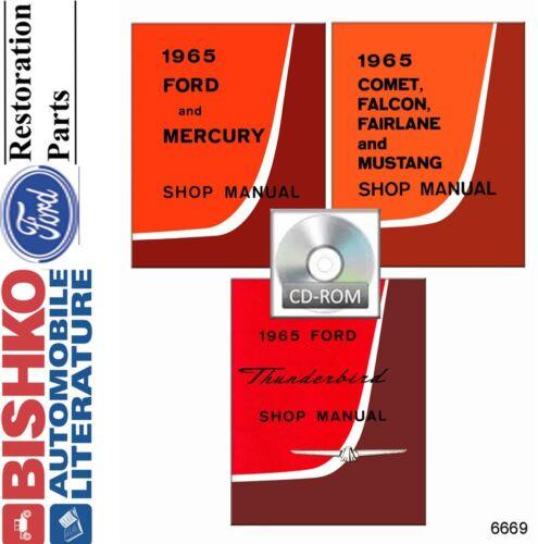 1965 Falcon Mustang Fairlane Thunderbird Shop Service Repair Manual CD