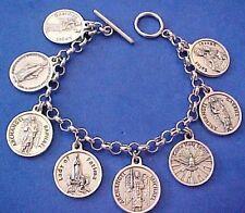 """Custom Religious Saint Medal Charm Bracelet Lot PRAYERS Stainless Steel 7.5"""" B3"""
