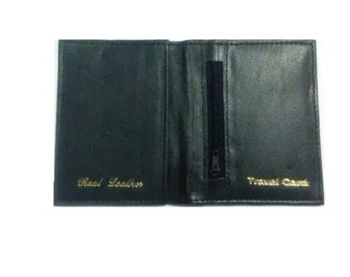 Black Leather Bus Pass Oyster Credit Card Travel Wallet Holder Coin Pouch