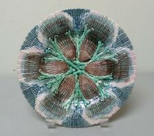 "19th C. AMERICAN ""GSH"" ETRUSCAN MAJOLICA ""SHELL & SEAWEED"" 8.25"" PLATE"